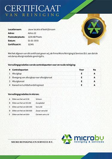 Voorbeeld van een certificaat van reiniging van Micro reiniging voor vetkanaal inspectie